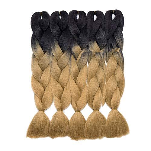 SEGO Kanekalon Jumbo Ombre Tresse Cheveux - Extension de Cheveux Tresse Ombre Crochet Twist Tressage Cheveux 60CM [5 Trames] [Noir à Marron Clair]