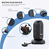 Tower Power Strip USB, SAFEMORE Surge Protected Extension Lead 9 Way with 6 USB Ports(3.4A), Multi Plug Sockets Power Tower 3250W for TV PC Smart Phone iPad Sky Box, 1.8m Retractable Cords - Black