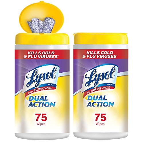 Lysol Dual Action Disinfecting Wipes w. Scrubbing Texture 75 Pack of, White, Citrus, 150 Count, (Pack of 2)