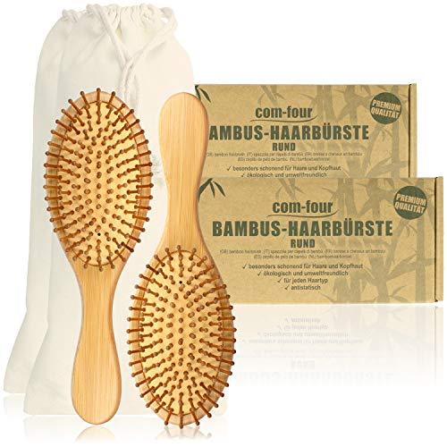com-four® 2X Natur-Haarbürste aus Bambus - Umweltfreundliche Bürste mit Naturborsten für natürlich schöne Haare - Für Männer, Frauen, Kinder - 100{aff4f0b36caec3aa5b6d5931b4b37a2ed32afe9e69ff37aaf928ff8b9063a3c0} Vegan (2 Stück - Allzweckbürste)
