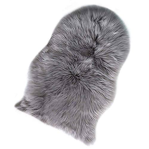 KYRD Nachahmung Lammfell Teppich 60 x 90 cm Lammfellimitat Teppich Künstlicher Fell Wolle Bettvorleger Sofa Matte (Grau)