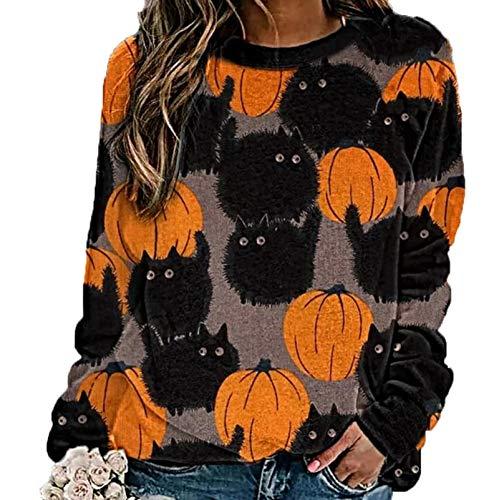 LaiYuTing 2020 Herbst Und Winter New Halloween Pumpkin Pattern LäSsiger Und Bequemer Langarm-Pullover Mit Rundem Hals
