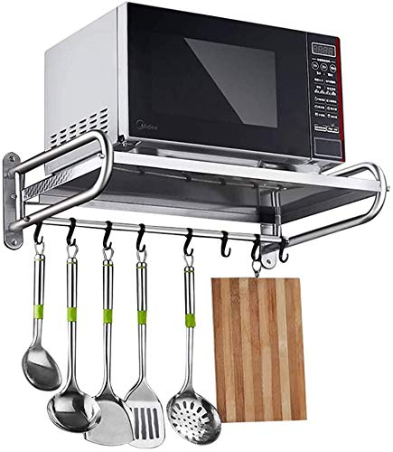 DALUXE Microwave Stand, 304 Stainless Steel, Microwave Shelf, for Wall Mounting, for Kitchen Utensils, Microwave Stand, for Storage,53Cm
