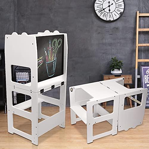 Vogvigo Taburete de cocina de madera para niños, taburete de cocina antideslizante para niños, torre de aprendizaje de madera Montessori con mesa de dibujo extraíble como mesa de aprendizaje