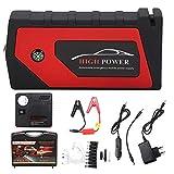 Akozon Arrancador de coche Multifuncional 600 amperios 12V Energía de arranque de emergencia 4 cargador USB Banco de energía de batería 18000 mAh(EU Plug)