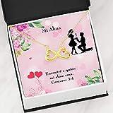 Express Your Love Gifts Mi Alma Infinity Stainless Steel Colgante Spanish Mensaje Tarjeta Wife Gift