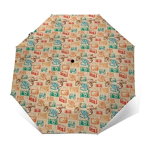 Paraguas Plegable Automático Impermeable Cámara TV Cassette School, Paraguas De Viaje Compacto Prueba De Viento, Folding Umbrella, Dosel Reforzado, Mango Ergonómico