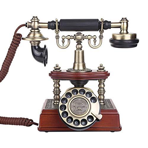 WBDZ Teléfono/teléfonos de Estilo Retro, Accesorios teléfono de Cable Fijo, línea Fija, Oficina en casa, Oficina Europea Retro Creativo (Color: marrón, tamaño: 17.5 * 12.6 * 22.8 cm)