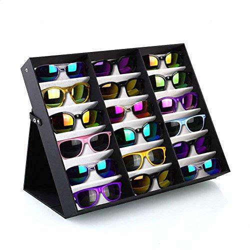 BADASS SHARKS brillenständer für 18 Paare Brillen Aufbewahrung Brillendisplay (18 Paare Brillen) Zusammenklappbar und multifunktional Brillendisplay für Brillen, Schmuck, Uhren Usw (Schwarz-Weiss)