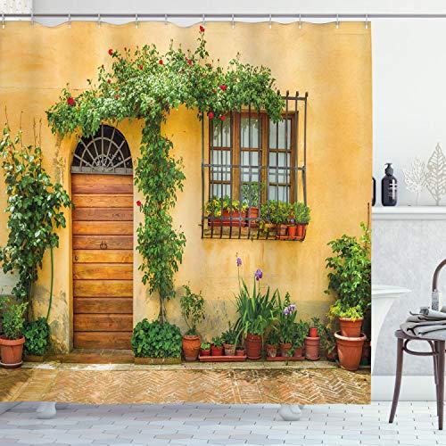 ABAKUHAUS Italien Duschvorhang, Stadtleben in der Toskana, mit 12 Ringe Set Wasserdicht Stielvoll Modern Farbfest & Schimmel Resistent, 175x220 cm, Grün braun Aprikose