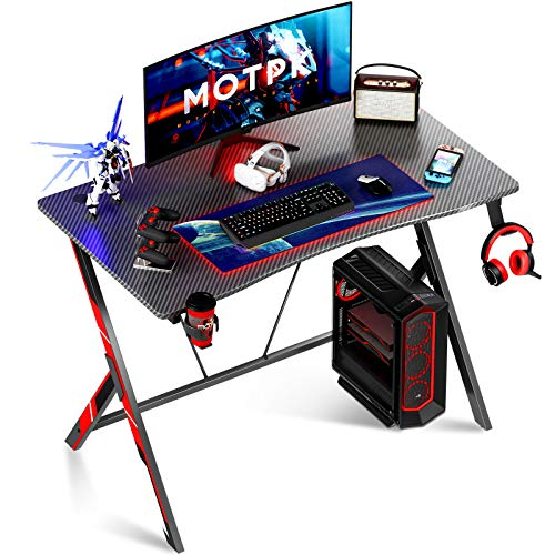 Motpk Gaming Desk 315 inch PC Computer Desk Home Office Desk Workstation with Carbon Fiber Gaming Table with Headphone Hook and Cup Holder