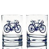 Greenline Goods – Bicycle Whiskey Glasses (Set of 2) |10 oz Tumbler Gift Set with Colorful Cyclist Designs | Unique Gifts for Cyclists & Bike Riders [Navy]