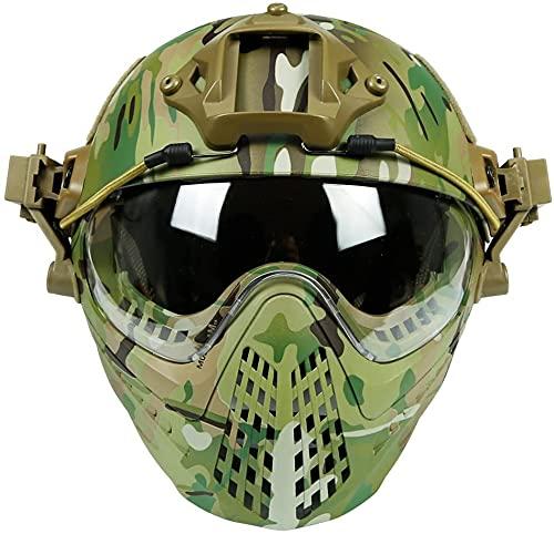 PJ Tactical Fast - Casco de protección integral para pilotos, casco de paintball Airsoft con protector facial desmontable y gafas