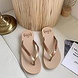 ypyrhh Sandalias Moda Casual,Cuñas con Zapatos de Playa de Moda, Impermeables y Antideslizantes-Khaki_36,Lino Zapatillas Interior Sandalias