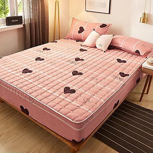 HPPSLT Protector de colchón/Cubre colchón Acolchado, antiácaros, Sábana más Gruesa de una Sola Pieza Transpirable-6_180 * 220cm