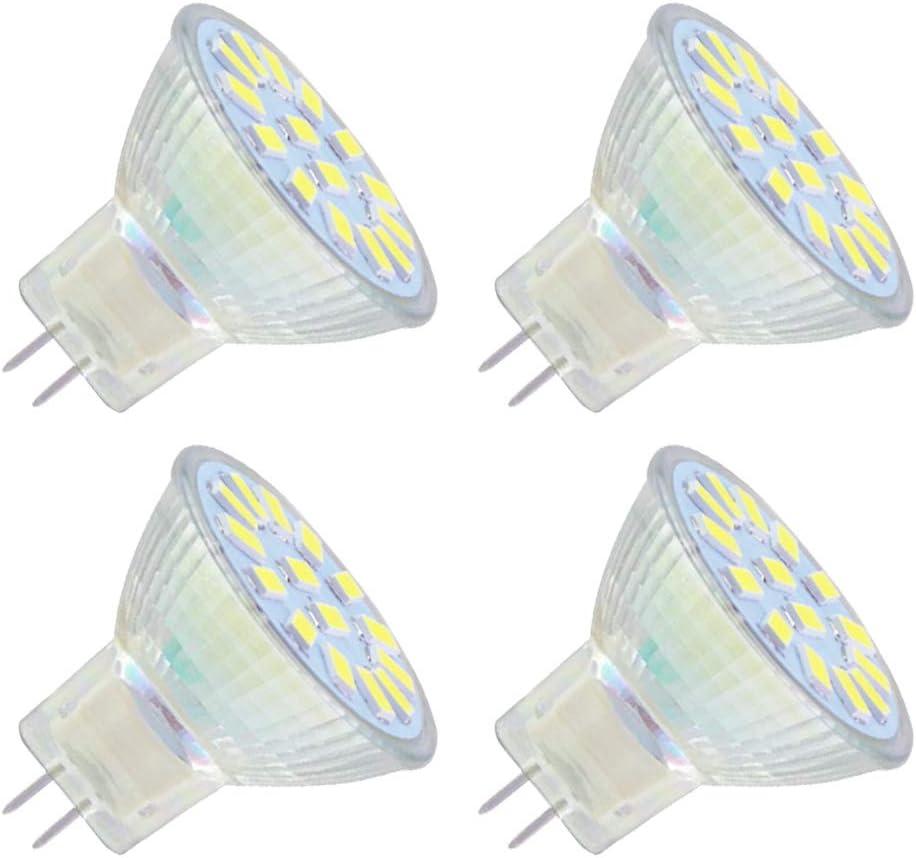 Foco LED MR11 GU4, 12 V, luz blanca fría, 6000 K, 4 W equivalentes a 35 W, 350 lm, 120 grados, CA/CC 12 V-24 V, intensidad no regulable, diámetro de 35 mm, GU4, para campana extractora/foco de techo