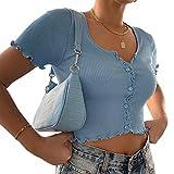 Geagodelia Y2K - Camiseta de manga corta para mujer, de verano, con encaje casual y elegante, color liso, con botones suaves, tallas S/M/L turquesa M