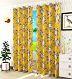 STAR DECOR Polyresin Floral Grommet Curtain, 7 Feet, Yellow, Pack of 1
