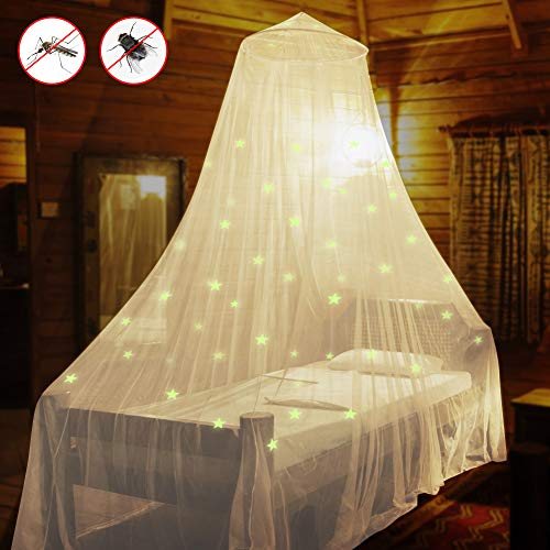 AMMER Fluorescent Stars Glow Bed Canopy, Mosquito Net for Baby, Kids, Girls or Adults, Suit for Cribs, Single Bed, Twin Bed or Full Size Bed