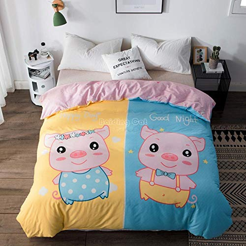 Rnvvaceo 3D Cartoon pink cute animal pig Duvet Cover and Pillowcases for Children Boys Men Bed Linen Zip Closure Easy Care Fibre Extra Fine Bedding Set, Microfibre, (King size 240 x 220 cm), Girl d