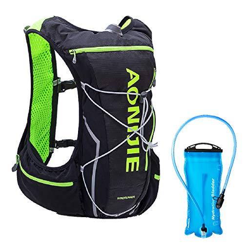 Azarxis 10L Trinkrucksack mit 2L BPA-freie Trinkblase, Laufrucksack Ultraleichter Rucksack für Outdoor, Wandern, Radfahren, Marathoner (Schwarz & Grün - mit 2L Wasserblase, M/L(80-97cm))