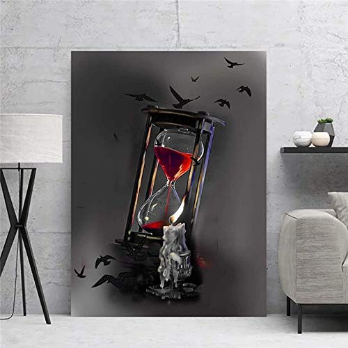 RuiChuangKeJi Impresión sobre lienzo de 50 x 70 cm, sin marco, diseño gótico de reloj de arena oscuro