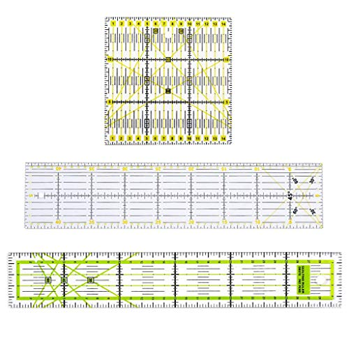 IPOTCH 3er Patchworks Lineal Nähen DIY Schneiderlineal Rollschneider-Lineal aus Kunststoff