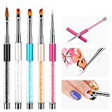 Yangfei 5Pcs Pincel para Arte de Uñas Nail Art Brush Pinceles para Arte de Uñas, Pincel para Uñas de Acrílico Pincel Decoracion Uñas, Apto para Principiantes y Salones (5 colores)