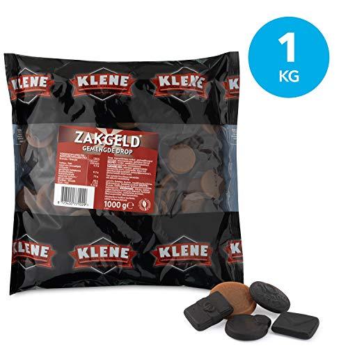 Klene Zakgeld, zoete en zoute drop –  6 zakken, inhoud van 1 kg, harde drop in muntvorm