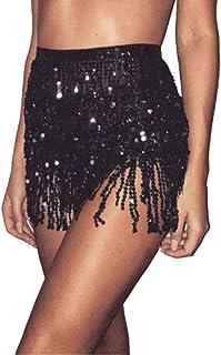 Pingtr Sequin Belly Dance Skirt, Women Belly Dancer Costume Tassel Wrap Skirt Club Mini Skirt Fringe Hip Scarf Waist Wrap ...