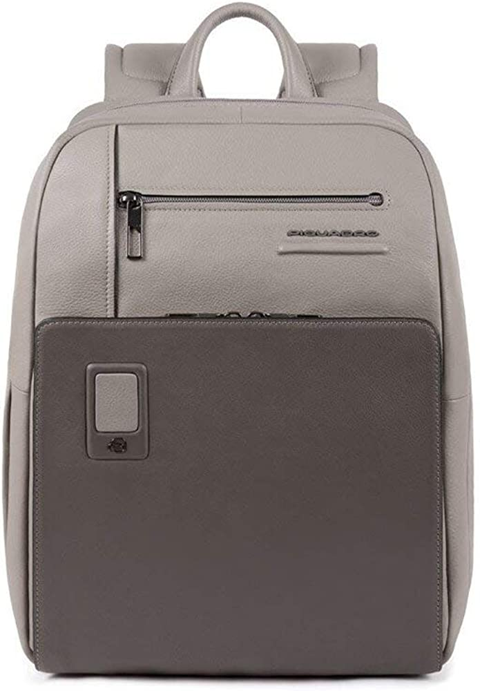 Piquadro akron business,  zaino in pelle unisex, scomparto laptop, grigio