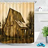 taquxinlaowan Oak Abandoned Country House Tela Impermeable Baño Ducha Cortina Mat 12Hook Set