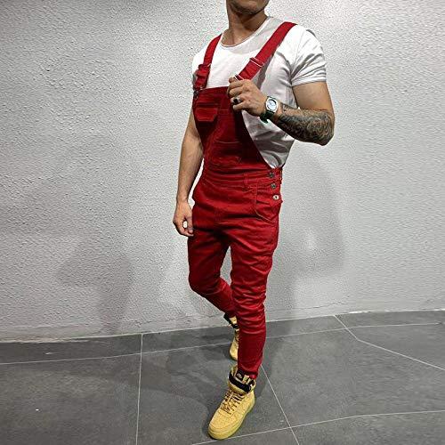 Mode Herren Ripped Jeans Overalls Hi Street Distressed Denim Lätzchen Overalls Für Mann Hosenträger Hose Größe S-XXX-Large M 1928Red