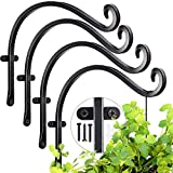 AJART Hanging Plant Bracket for Plant Hangers Outdoor (4 Pack -12 inch) More Stable and Sturdy Black Plant Hooks