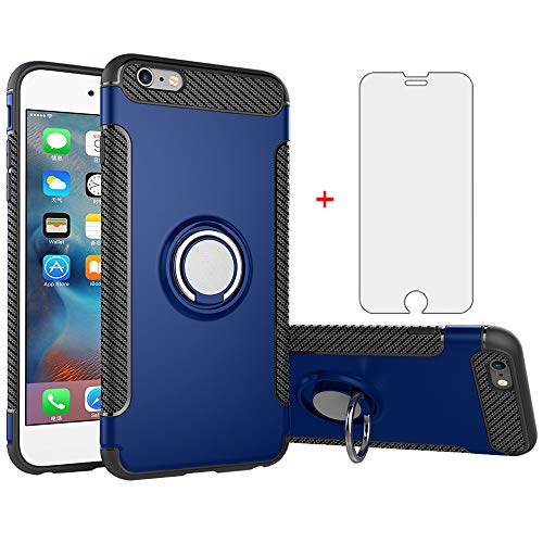 Phone Case for iPhone 6plus 6splus 6/6s Plus with Tempered Glass Screen Protector Cover and Stand Ring Holder Hybrid Hard Cell iPhone6 6+ iPhone6s 6s+ i 6P 6a S Six iPhone6splus Cases Men Blue