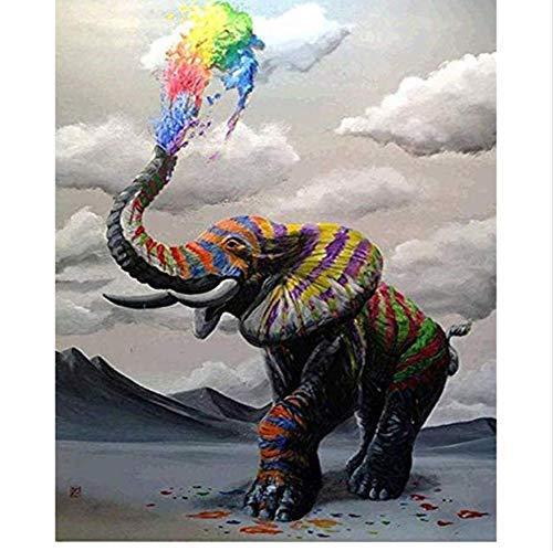 YUUWO DIY Pintura Digital por Números Paquete Arco Iris Elefante Pintura Al Óleo Kits Murales para Colorear Arte De La Pared Imagen Regalo 40X50 Cm