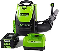 Greenworks 80V 145MPH – 580CFM Cordless Backpack Leaf Blower, 2.5Ah Battery and..