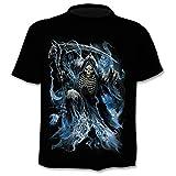 chemisier manche courte T-shirt de mort de faucille de flamme bleue homme 3DT chemise à manches courtes col rond impression numérique décontracté à manches courtes-couleur_3XL
