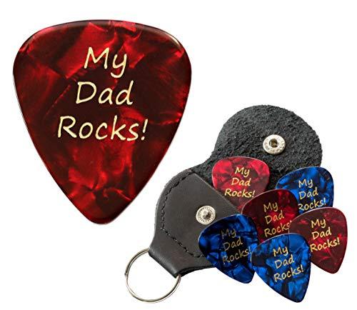 Llavero con púas de guitarra My Dad Rocks con soporte de cuero