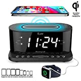 iLuv Morning Call 5 Qi-Certified Wireless Charging Bedside Digital Alarm Clock,...