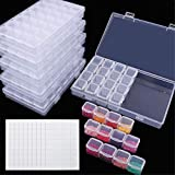 SGHUO 168 Slots 6 Pack 28 Grids Diamond Painting Boxes Plastic Organizer 5D Diamond Embroidery Accessories Storage Containers with 400pcs Label Stickers for DIY Art Craft, Nail Diamonds, Bead Storage