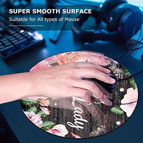 Round Mouse Pad and Coaster Set, Pink Rose Flower Pattern Wooden Art Boss Lady Quote Mousepad, Non-Slip Rubber Base Gaming Mouse Pads for Working Or Game Photo #4