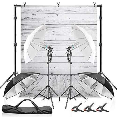 Julius Studio Wood Floor Backdrop with Umbrella Lighting Kit, 600W 5600K, 10 ft. Background Support Stand System, White & Black Umbrella Reflector with Bulb Socket, Clamp, Carry Bag, JSAG355