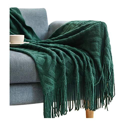 Super Ultra Soft Sofa Knitted blanket Sofa Knitted blanket Dual Sided Throw Blanket Travel Camping Blanket fit Couch Sofa Bed Sofa blanket, blanket, blanket-127*152+10CM must-Dark green