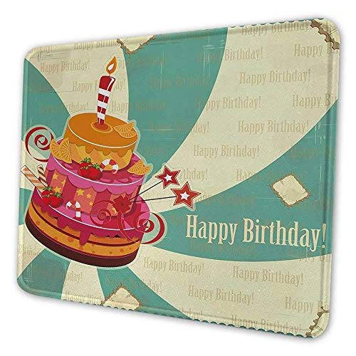 Geburtstag ergonomische Mauspad köstliche große Kuchenfeier reife Früchte Bonbons auf gewirbelten Vintage Hintergrund Mauspad für Frauen ziemlich mehrfarbig