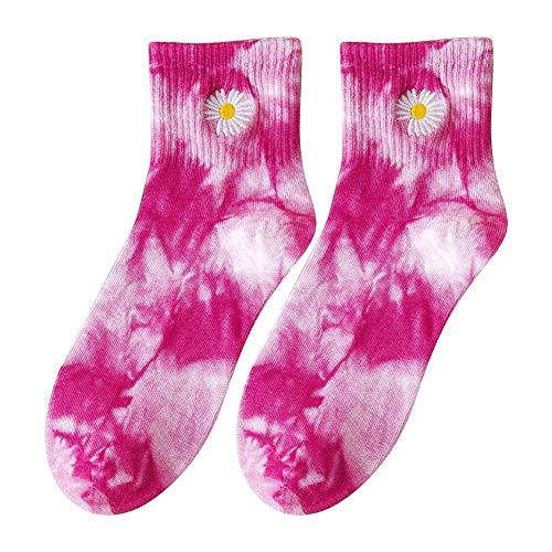 POHOVE 1pair Batik Socken Für Damen Herren Rundhals Baumwollsocken Daisy Lustig Bedruckt Neuheit Kuschelig Aktivitäten Weich Mehrfarbig Mode Modisch Baumwollmischung Atmungsaktiv Freizeit