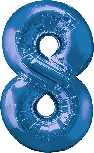 amscan Ballon Mylar Bleu Chiffre 8 - Taille Unique