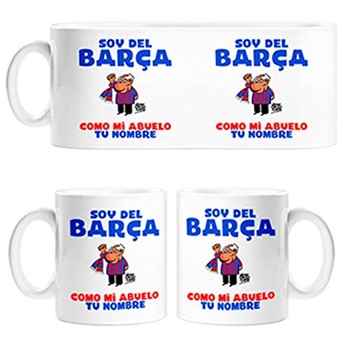 Diver Tazas Taza Frase Parodia Soy del Barcelona como mi Abuelo Personalizable con Nombre - Cerámica