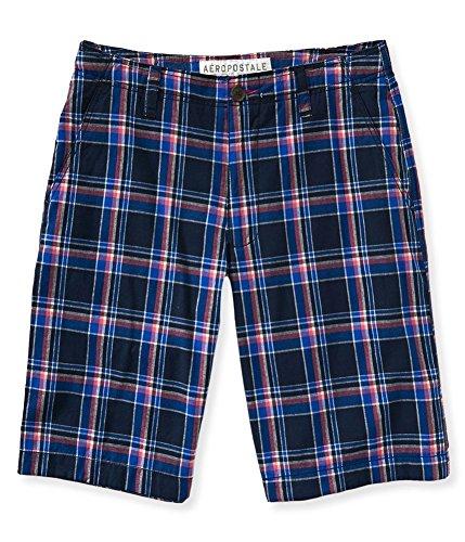 Aeropostale Mens Plaid Flat-Front Casual Bermuda Shorts, Blue, 27