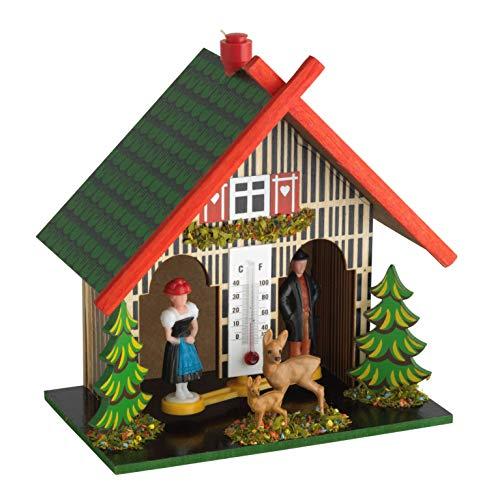 TFA Dostmann Wetterhaus aus Holz, 48.1501, hergestellt in Deutschland, Wetterhäuschen mit Regenmann und Sonnenfrau, mehrfarbig, L140 x B90 x H150 mm